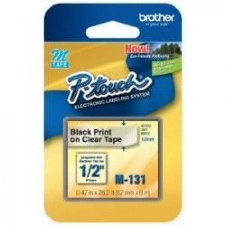Fita Rotulador Brother 12mm M-131 Preto/Transparente