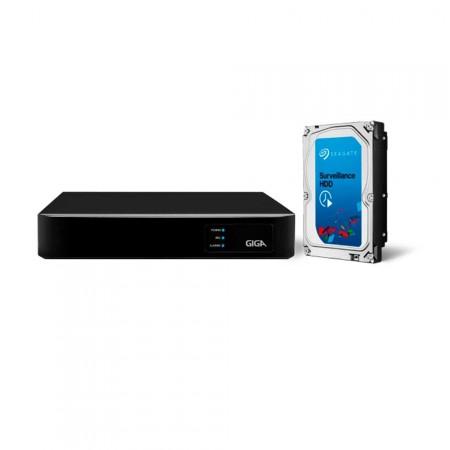 Gravador Digital de Vídeo Híbrido 4 Canais GIGA HVR GS04HD com HD 1TB embutico