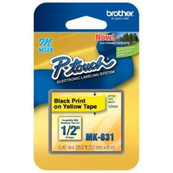 Fita Brother MK-631 12mm Preto/Amarelo